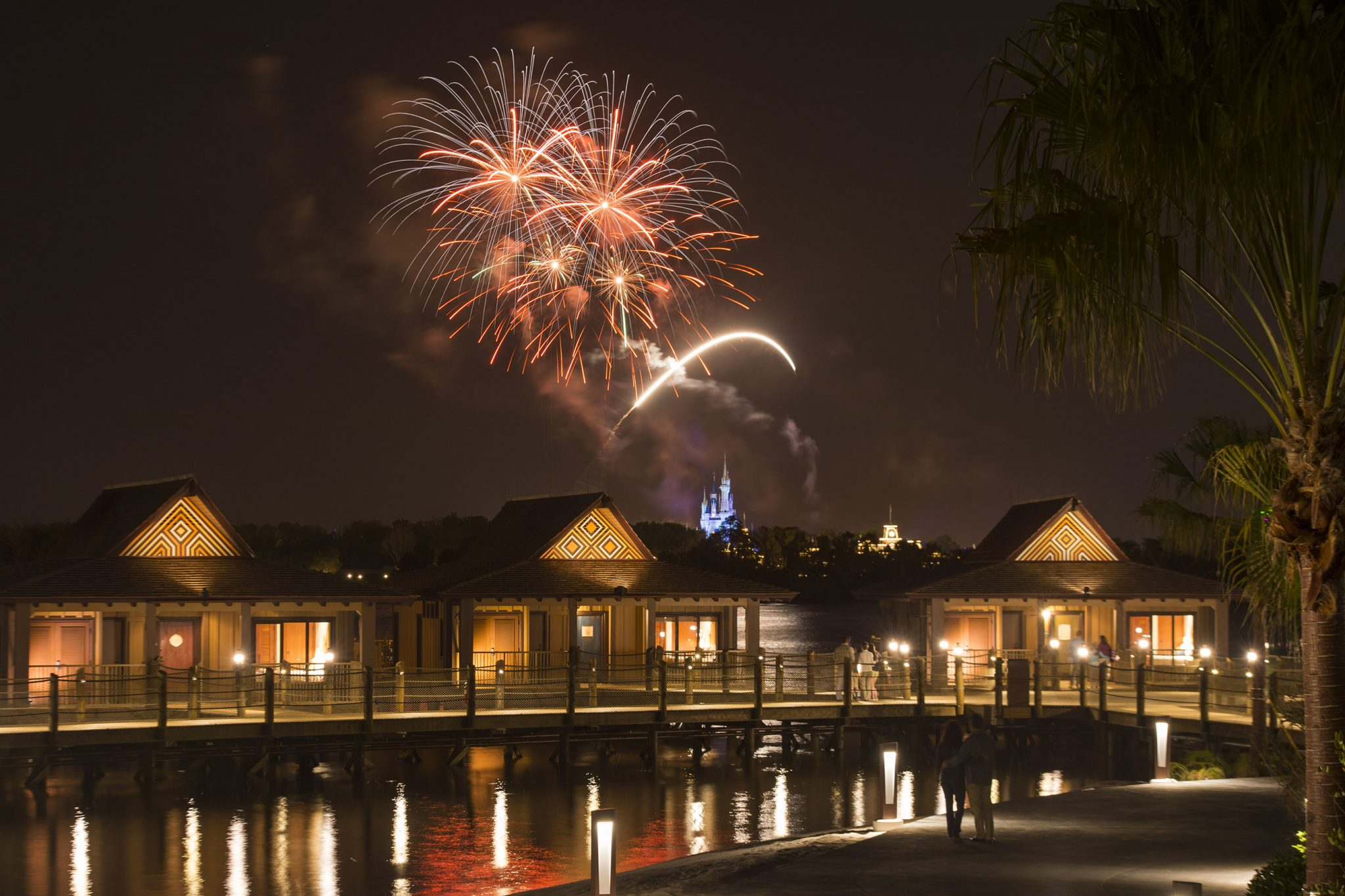 The Bora Bora Bungalows atÊDisney's Polynesian Villas & Bungalows: Fireworks Over Magic Kingdom
