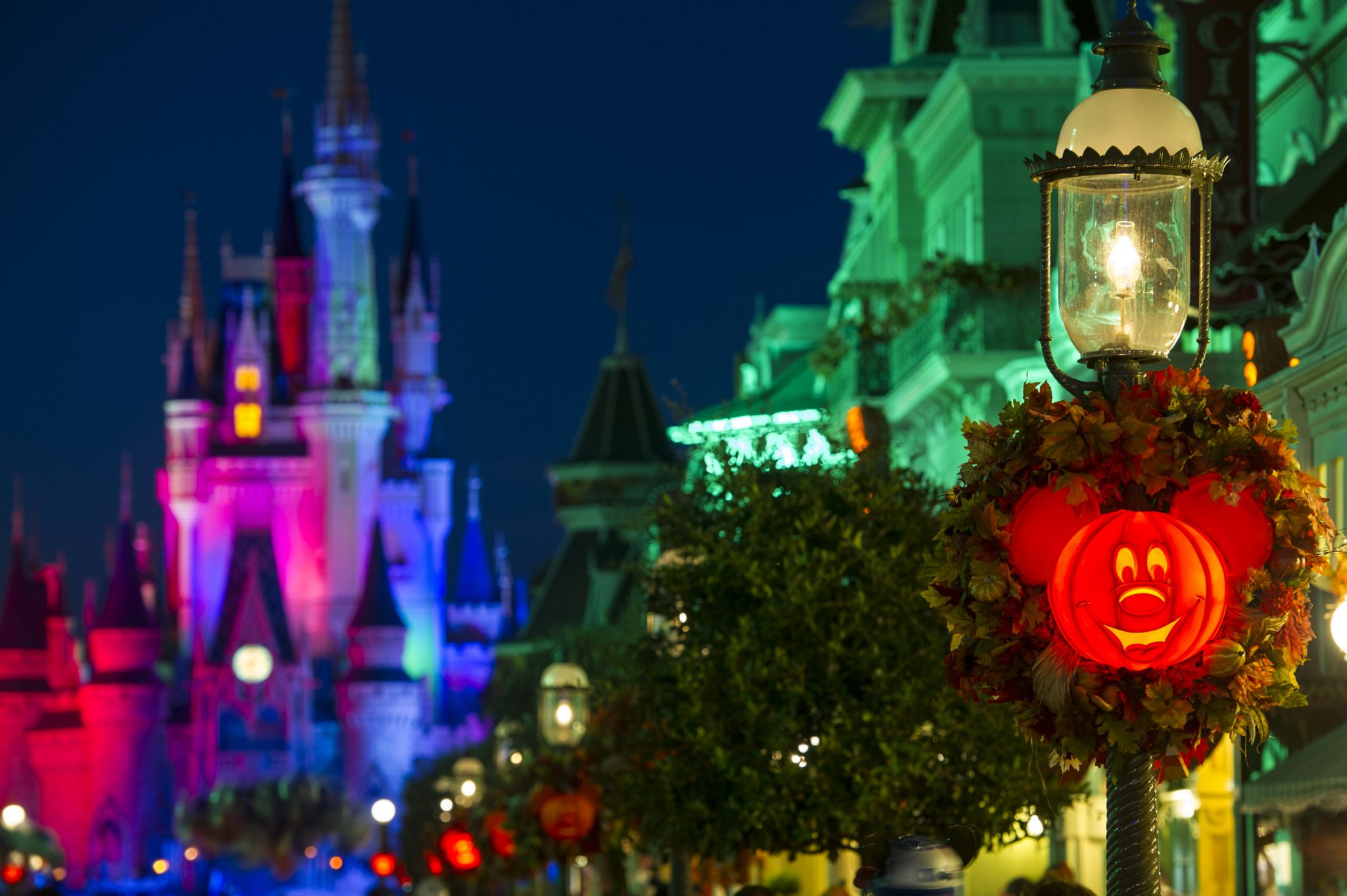 "Mickey Jack-O-Lanterns light up Main Street, U.S.A. in the Magic Kingdom as decorations set the stage for Mickey's Not-So-Scary Halloween Party. The family-friendly after-hours event offers trick-or-treating, meet and greets with favorite characters in costume, plus the must-see ""Mickey's Boo-to-You Halloween Parade"" and ""Happy HalloWishes"" fireworks display. Mickey's Not-So-Scary Halloween Party is a special ticket event and takes place on select nights each fall at Walt Disney World Resort in Lake Buena Vista, Fla. (Ali Nasser, photographer)"