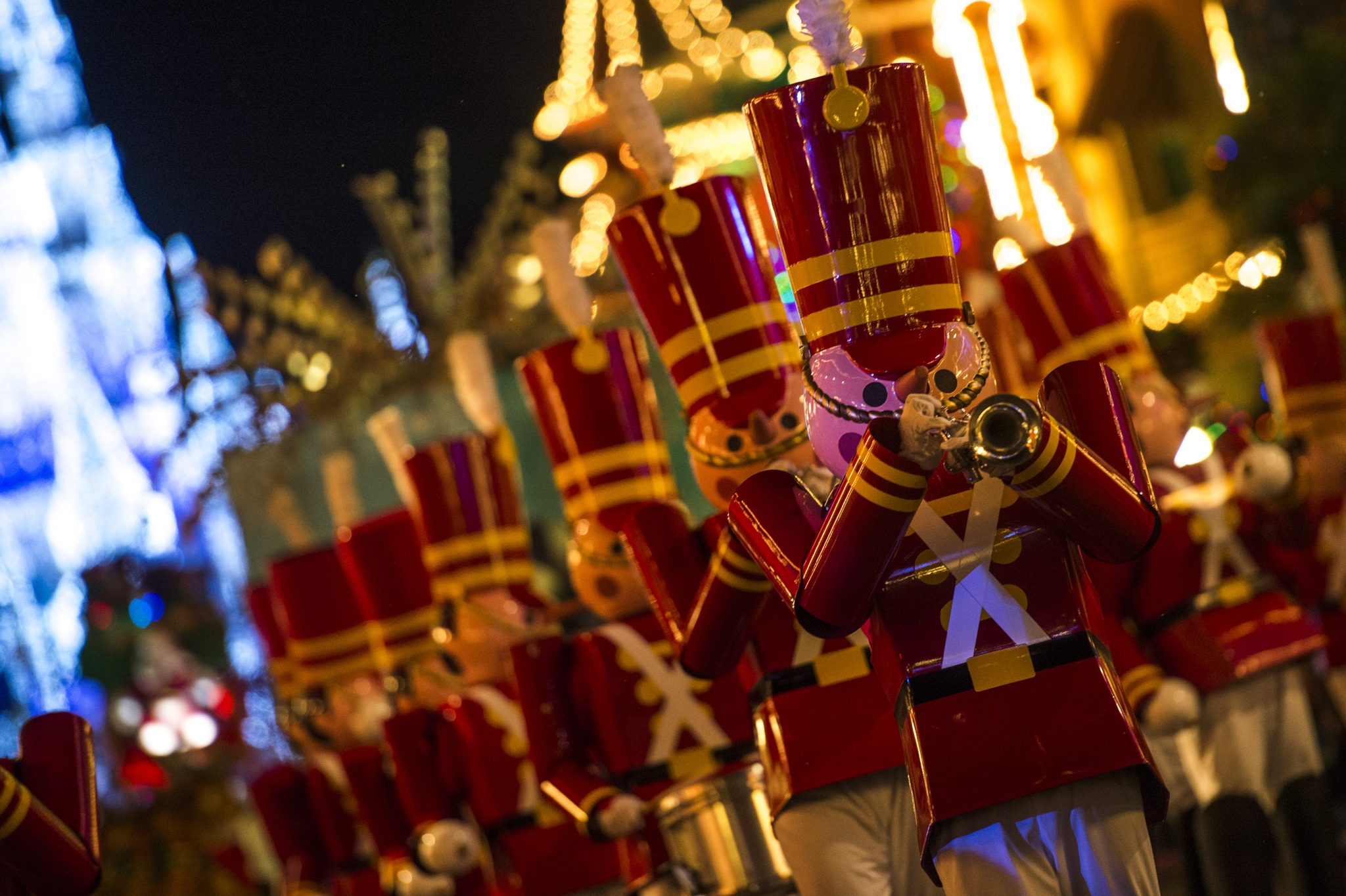 "Toy soldiers parade down Main Street, U.S.A., at Magic Kingdom during ""Mickey's Once Upon a Christmastime Parade."" The festive processional is one of the happy highlights of Mickey's Very Merry Christmas Party, a night of holiday splendor with lively stage shows, a unique holiday parade, Holiday Wishes: Celebrate the Spirit of the Season nighttime fireworks, and snow flurries on Main Street, U.S.A. The special-ticket event takes place on select nights in November and December in Magic Kingdom at Walt Disney World Resort in Lake Buena Vista, Fla. (Charlie Champagne, photographer)"