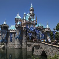 SPARKLING BEAUTY (ANAHEIM, Calif.) – Sleeping Beauty Castle at Disneyland park is draped in dazzling diamonds to commemorate the Diamond Celebration at the Disneyland Resort. More than 100,000 blue glass crystals shimmer on the rooftop of the Disneyland landmark. (Paul Hiffmeyer/Disneyland Resort)
