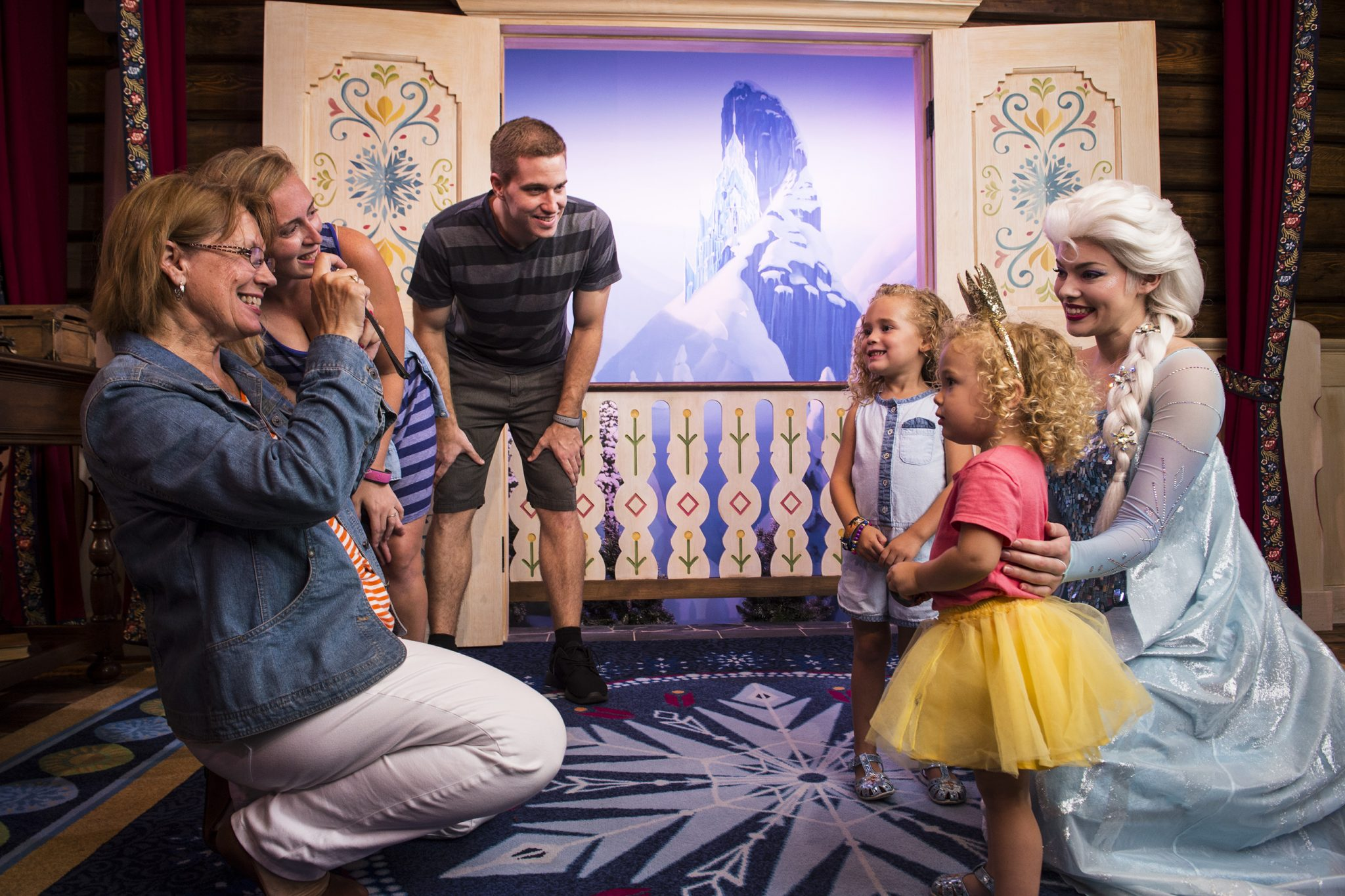 "Guests can meet Princess Anna & Queen Elsa from ""Frozen"" inside Royal Sommerhus, their cozy cabin in the Norway Pavilion at Epcot. Here, guests can meet the royal sisters, pose for a photo, and share a warm embrace. Epcot is one of four theme parks at Walt Disney World Resort located in Lake Buena Vista, Fla. (Ryan Wendler, photographer)"